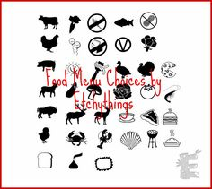 Meal Options Rubber Stamps Choose From 30 Menu By Etchythings