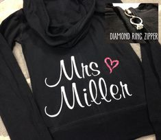 Custom Personalized Bride Zip Up Hoodie by DeighanDesign.  Perfect to wear the morning of while getting ready, for your bachelorette party, or traveling for your honeymoon!