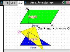 Activity: Area Formulas: Geometry: TI Math Nspired
