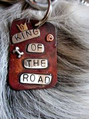 """King of the road"" (trailers for sale or rent, rooms to let fifty cents....) Dog tag in sterling silver & copper by Stacey Lamothe Art. #Dog tag #dog jewelry #Dog ID"