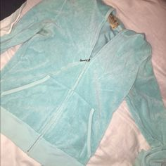 Juicy terry cloth zip up Turquoise terry cloth zip up sweater. Size M. Can fit S. Comfy. Open to offers Juicy Couture Sweaters