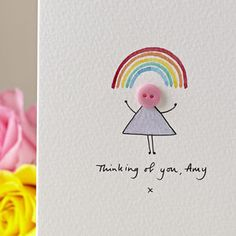 Personalised 'Button Rainbow' Hand Illustrated Card - get well soon cards
