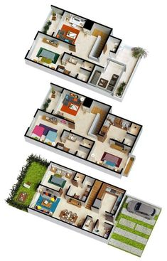 A floor plan, or floorplan, is a virtual model of a building floor plan, depicted from a bird's eye view 3d House Plans, House Layout Plans, House Blueprints, Dream House Plans, Small House Plans, House Layouts, Home Design Plans, Home Interior Design, House Construction Plan