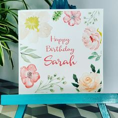 PERSONALISED Handmade Birthday Floral Watercolour Print Any name of choice Card