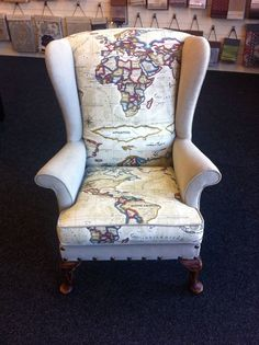 Parker Knoll Wingback Chair Fully Upholstered Map World Traveler fabric