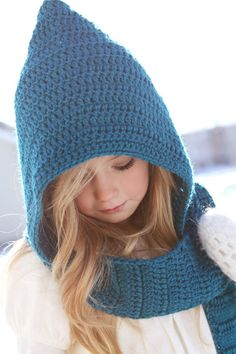 The absolutely cutest winter hat/ scarf combo I've ever seen! We have one in purple and I wish I had one in every color!