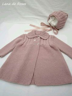 Paz Rodriguez Baby Girls Pink Pram Coat and Bonnet Baby Cardigan Knitting Pattern Free, Crochet Baby Jacket, Baby Hats Knitting, Baby Knitting Patterns, Baby Patterns, Baby Girl Cardigans, Baby Girl Jackets, Baby Sweaters, Girls Sweaters