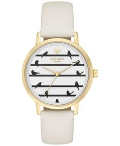 kate spade new york Women's Metro White Leather Strap Watch 34mm KSW1043 | macys.com