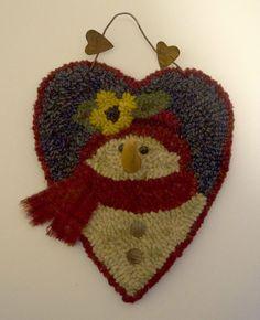 Christmas Rugs, Rug Hooking, Primitives, Snowman, Crochet Hats, Antiques, Heart, Ebay, Ideas