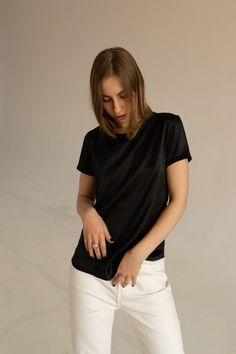 832d685f0c1fe Women's black silk t-shirt Short sleeve black silk blouse for woman Office  silk top Silk tee Silk cl