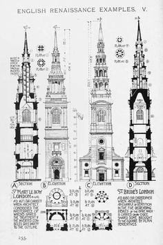 English Renaissance Church steeple // A History of Architecture on the Comparative Method by Sir Banister Fletcher