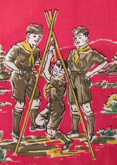 BOY SCOUTS VINTAGE RED FABRIC W/ GREAT SCOUT GRAPHICS 1 1/2 YARDS UNUSED 1950's