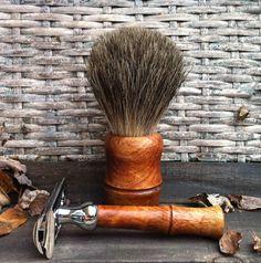 Double edge safety razor and shave brush by BrushCraft on Etsy
