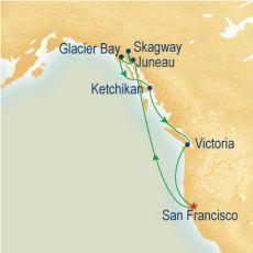 Our Alaska cruise route on the sea princess.