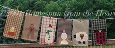 Applique Primitive Tea towels pattern by Homespun from the Heart