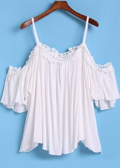 White Spaghetti Strap Floral Crochet Loose Top 16.00