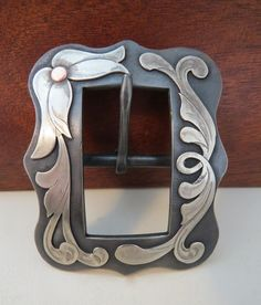 Item 008132 - Handmade HM Wells Oversized Headstall Buckle or Chap Belt Buckle - Must Fish Western Tackle - Picasa Web Albums Custom Belt Buckles, Western Belt Buckles, Western Belts, Cowboy Spurs, Cowboy Gear, Spur Straps, Metal Engraving, Headstall, Silver Work