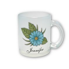 Blue Daisy Frosted Glass Mug $20.80 #floral #mug #kitchen #home