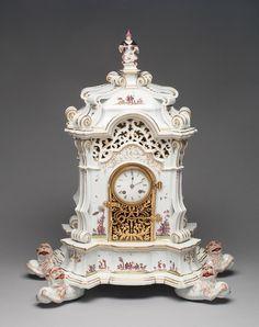 Meissen Porcelain Manufactory German, founded 1710 Modeled by George Fritzsche (German, 1681-1709) Painted in the manner of Johann Gregor Höroldt (German, active 1720-56; 1763-65), Clock