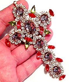 Giant Red Purple Rhinestone Cross Pendant: Christian Catholic Jewelry (Image1)