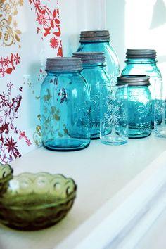 Blue mason jars...pretty collection!