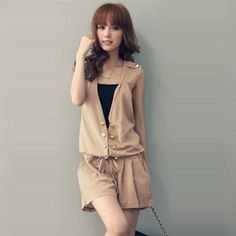summer fashion women's casual double breasted rompers sleeveless v-neck jumpsuits one piece shorts JR-018