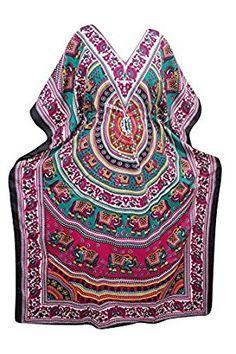 Mogul Interior Womens Caftan Evening Wear Elephant Print Bohemian Maxi Kaftan Dress (Pink) at Amazon Women's Clothing store: