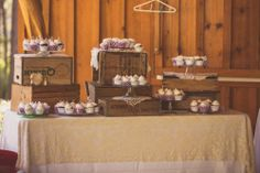 Setup for cupcakes at vintage rustic wedding ceremony.   #wedding #weddingcupcakes #vintage #rustic