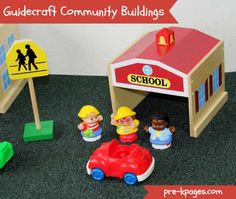 Guidecraft Community Buildings for Block Play via www.pre-kpages.com
