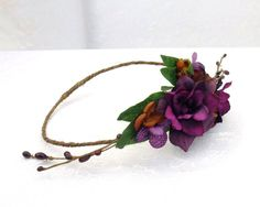Woodland Flower Crown, Boho Flower Crown, Dark Purple Flower Circlet, Chocolate and Plum, Woodland Wedding, Bridesmaid, Fairy Head Piece