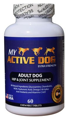 My Active Dog Glucosamine, Complete All Natural Hip and Joint Supplement for Joint Pain Relief, Hip Dysplasia, Canine Arthritis. Contains MSM, Chondroitin, Hyaluronic Acid, Vitamins C and E, Omega 3 and 6. Chicken Flavor Chewable Tablets * Check out this great product.