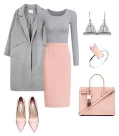 """""""Gray and pink work wear"""" by bshujewelry ❤ liked on Polyvore featuring Roland Mouret and Yves Saint Laurent"""