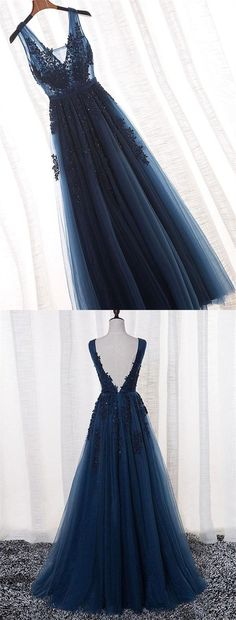 Elegant Prom Dress,Dark Navy Prom Dress,Applique Prom Dress,Beaded Prom Dress,Long Prom Dress,Lace Evening Dress