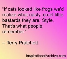 Terry Pratchett quote on cats and style. You're not a nasty little bastard. Like Quotes, Cat Quotes, Book Quotes, Terry Pratchett Discworld, Wit And Wisdom, Quotable Quotes, Beautiful Words, Wise Words, Quotations