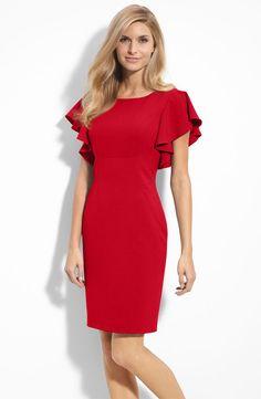 Go Red Dress Calvin Klein Stretch Luxe Ruffle Sleeve Stretch Sheath Dress Calvin Klein Gown, Calvin Klein Red, White Business Dress, Business Dresses, Concrete Jungle, Red Midi Dress, Dress Skirt, Beautiful Red Dresses, Pretty Dresses