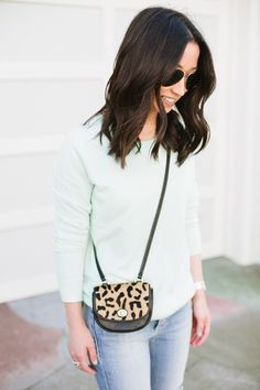 Blogger Crystalin Marie keeps it fresh in a mint Gap sweater.