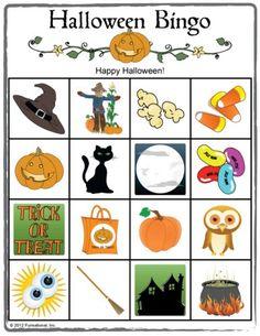 Halloween Picture Bingo. Great for kids Halloween parties or classroom parties