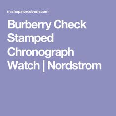 Burberry Check Stamped Chronograph Watch | Nordstrom