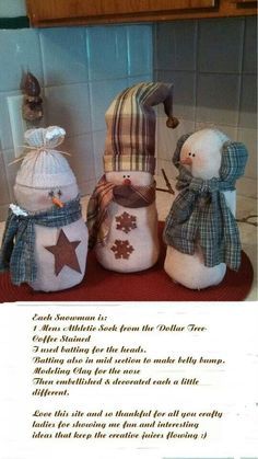 Different variations of sock snowman