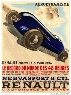 Poster-manifesto-affiche reproduction - Automobile Renault Nervasport 8 CYL Record du Monde 1934 (N)