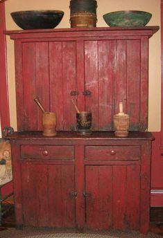 Beautiful red step-back cupboard. Primitive Cabinets, Old Cabinets, Primitive Furniture, Primitive Antiques, Country Furniture, Pallet Furniture, Antique Furniture, Painted Furniture, Primitive Decor
