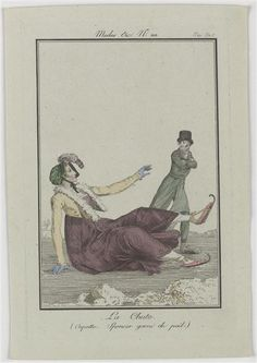 """This fashion plate is so cool: Slipping on the ice... """"Fashion plate, 1801, Journal des Dames et des Modes"""""""