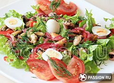 Салат с мидиями Caprese Salad, Cobb Salad, Food And Drink, Fish, Cooking, Kitchen, Pisces, Brewing, Cuisine