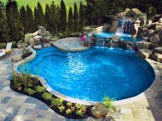 Design Ideas For Pool Landscaping Waterfall With Small Plants Backyard Trampoline, Backyard Pool Landscaping, Backyard Pool Designs, Swimming Pools Backyard, Swimming Pool Designs, Backyard Projects, Landscaping Ideas, Backyard Ideas, Pool Ideas