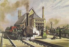 Another from the Liverpool to Manchester beginning of commercial railways.this is an old painting showing one of the world's earliest stations, Earlestown around The same building is still here with a modified roof (less Train Posters, Steam Railway, Train Art, Train Pictures, Old Paintings, Country Art, Steam Engine, Steam Locomotive, Train Tracks