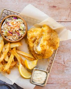 Now you can make Beer-Battered Fish with less guilt by using your air fryer. Easy, tasty and perfect with some air fried chips and malt vinegar. Deep Fried Cod Recipe, Fried Cod Recipes, Air Fryer Dinner Recipes, Air Fryer Recipes Easy, Blue Jean Chef, Beer Battered Cod, Fried Chips, Homemade French Fries, Air Frier Recipes