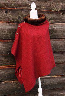 Harriet Hoot Red Harris Tweed & Vintage Mink Horse Poncho