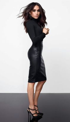 New Ladies Meghan Markle Celeb Polo High Neck Faux Leather Panel Bodycon Dress Women Dresses. Fashion is a popular style Estilo Meghan Markle, Meghan Markle Style, Meghan Markle Fashion, Meghan Markle Suits, Meghan Markle Hair, Meghan Markle Legs, Meghan Markle Nose Job, Megan Markle Dress, Harry And Megan Markle