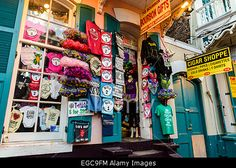 Gift shop at Bourbon street, New Orleans. World-famous Bourbon street is a center of night life in New Orleans Stock Photo