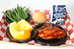 BBQ Chicken, green beans, roll, fruit and milk. From Hillsborough County, Tampa, Florida.